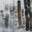 Stock Photo: Mexicand US coins