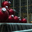 Stock Photo: Giant Christmas ornaments in NYC