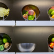 Fruits and vegetables showcase — Stock Photo
