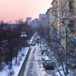 Moscow bystreet in sunset — Stockfoto