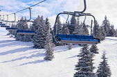 Ski lift with chairs — Stok fotoğraf