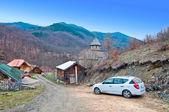Uvaz Monastery and parked car — Stock Photo