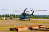Landing military helicopter — 图库照片