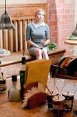 Frau mit kaffee — Stockfoto