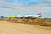 Aircrafts at reconstructed airfield. — Stock Photo