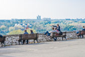 Tourists are observing New Belgrade — Stock Photo