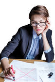 Business woman rejects document — Stock Photo