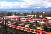 Commuter rail trains Frankfort Germany — Stockfoto