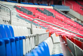 Row of chairs in a stadium — Stock Photo