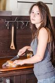Cutting burger — Stock Photo