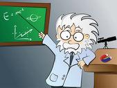 Physics teacher in class — Stock Vector