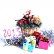 New year holiday gifts silver rain tree ornaments  2013 Christmas spirit gifts souvenirs — Stock Photo