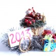 New year holiday gifts silver rain tree ornaments  2013 Christmas spirit gifts souvenirs — Stock Photo #14960801