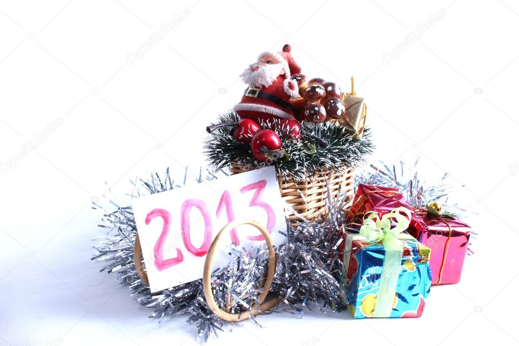 New year holiday gifts silver rain tree ornamentsChristmas spirit gifts souvenirsChristmas Santa Claus — Stock Photo #14960801