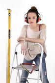 Pracownik budowlany kobieta z narzędzia — Zdjęcie stockowe