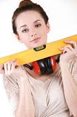 Girl with a ruler — Stock Photo
