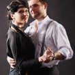 Dancing couple in love, retro — 图库照片