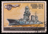 Paper stamps with the image of ship — 图库照片