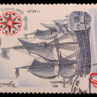Stock Photo: Stamps with image of ship Poltava