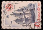 Briefmarken mit dem Bild des Schiff poltava — Stockfoto