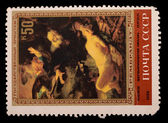Stamps with the image of Rembrandt paintings — Stock Photo