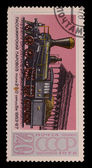 Stamps with the image of passenger train — Stock Photo