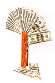 Clothespin and money — Stock Photo