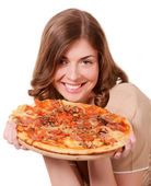 Girl advertises pizza — Stock Photo