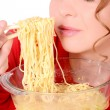 Girl loves spaghetti, noodles — 图库照片