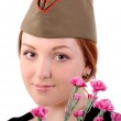 Girl in cap and studs — Stock Photo