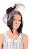 Lady in a hat with a veil — Stock Photo
