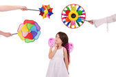 Girl with pink wings — Stock Photo