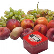 Stock Photo: Peaches and grapes with box