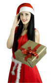 Girl with a red New Year's ball Red Christmas toy Christmas toy Snow Maiden with a fur-tree toy Christmas in red — 图库照片