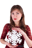 Portrait of a girl with snowflake — Foto Stock