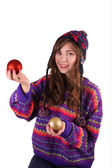 Girl with Christmas balls — Stock Photo