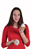 Happy beautiful woman with cakes — Stock Photo
