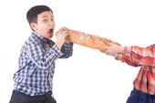 Boys can't share bread — Stock Photo