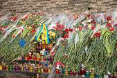 Blumen in Gedenken an die ermordeten auf Euromaidan. ukrainische Proteste 2014 — Stockfoto