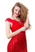 Mädchen in einem roten kleid — Stockfoto