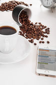 Telephone, news and coffee — Stock Photo