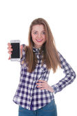Young girl holding mobile phone — Stock Photo