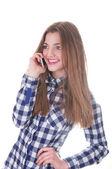 Female Student Portrait with telephone — Stock Photo
