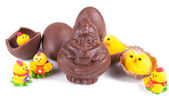 Chocolate chicken and chicks around — Stock Photo