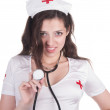 Girl in sexual conventionalized suit of medical nurse — Stock Photo #47207903