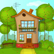 Illustration of street with house and trees — Imagens vectoriais em stock