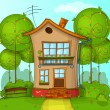 Illustration of street with house and trees — Image vectorielle