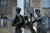 Sculptures in a yard of University of Culture and Arts, Lugansk-city, Ukraine — Stock Photo