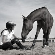 Relationship with the horse — Stock Photo