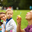 Attractive Young Parents Having Fun Blowing Bubbles with their Child Boy in the Park - Photo